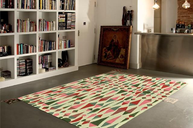 Alfombra barcelona alfombra en colores amarillo blanco y for Alfombras redondas chile
