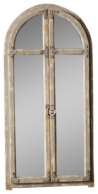 Mirror With Arched Wooden Frame By Bseid Farmhouse
