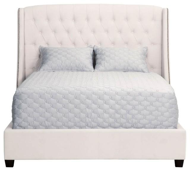 Sloan Bed, Cream Velvet, Standard King.