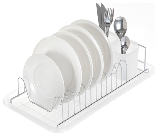 Kitchen Dish Drying Rack With Drain Board, Single Tier