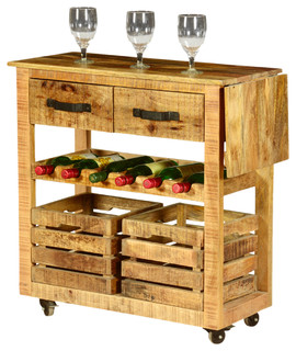 Modern Farmhouse Solid Wood Rolling Wine Bar Cart - Farmhouse - Wine And Bar Cabinets - by ...