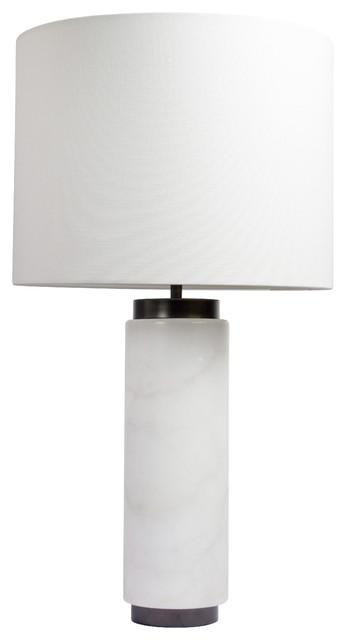 Carrara Marble Table Lamp, White
