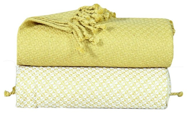 "50""x60"" Soft Cotton Mosaic Blanket Throws, 2-Piece Set, Apple."