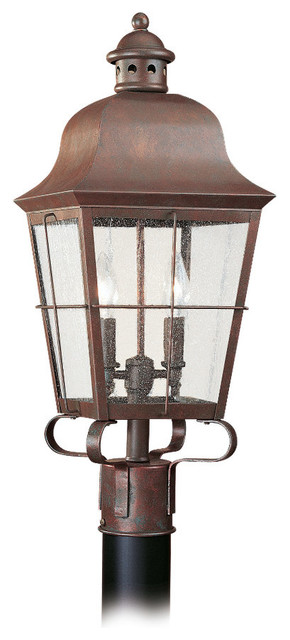 2-Light Outdoor Post Lantern, Weathered Copper.