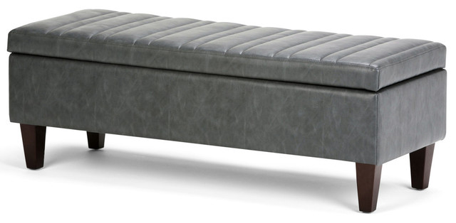 Admirable Monroe Faux Leather Storage Ottoman Slate Gray Pabps2019 Chair Design Images Pabps2019Com