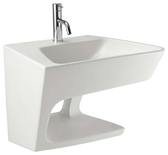 "Mae 23"" Wall Mounted Bathroom Ceramic Sink With One Faucet Hole."