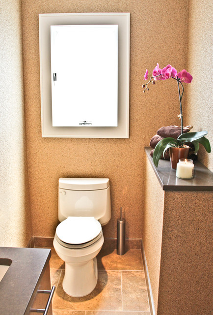 cork and mica wall covering powder room