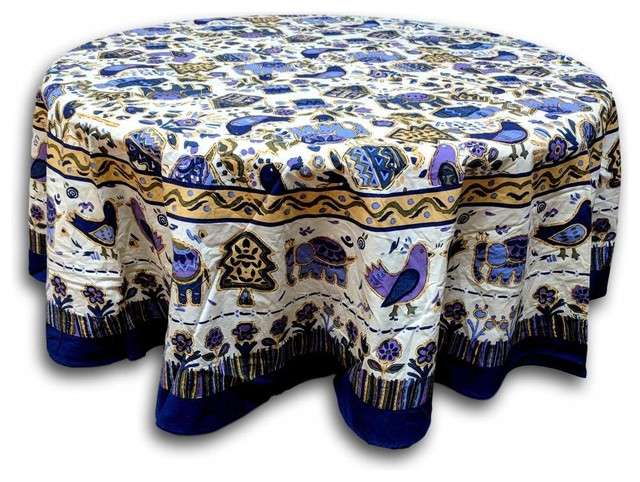 Cotton Birds Avian Floral Tablecloth Rectangular Square Round Table Linen,  Round