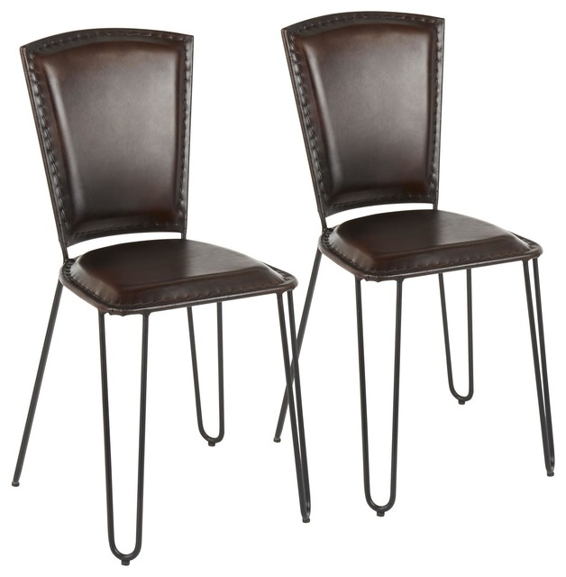 Ali Dining Chair, Set of 2, Black Metal, Espresso Leather