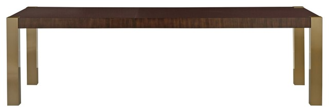 Gibson Modern Brushed Gold Mahogany Extending Dining Table