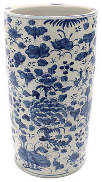 Oriental Blue And White Porcelain Umbrella Stand Bird Fl Motif
