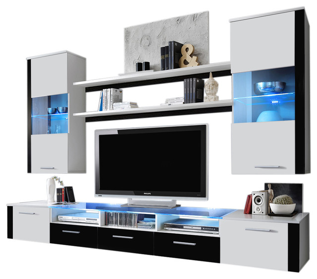 Wall Unit Modern Entertainment Center With LED Lights Fresh - Contemporary - Entertainment ...
