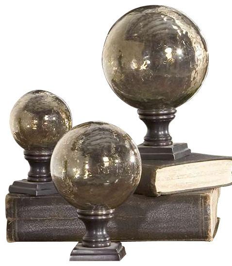 uttermost lamya glass globe finials set3 contemporary decorative accents - Decorative Accents