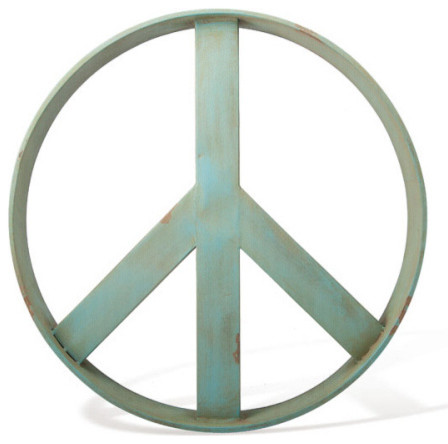 Peace Sign Wall Art iron peace sign wall art, guacamole green color - contemporary