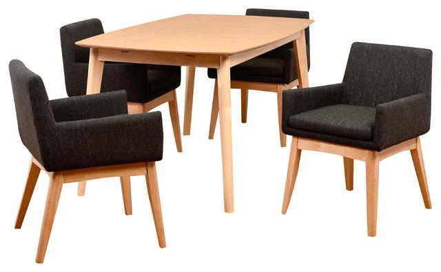 Midtown Concept Ruby 5-Piece Liqurice Rectangular Dining Set.