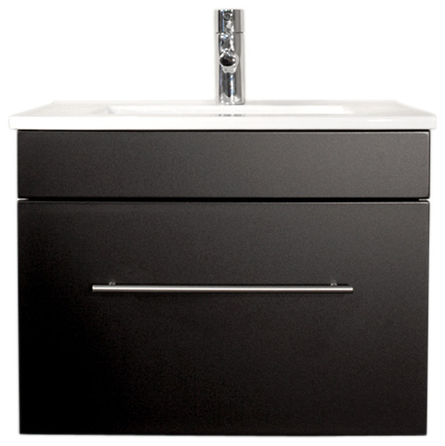 Emotion Pluto Bathroom Furniture, White High-Gloss, 60 cm, Black Semi-Gloss