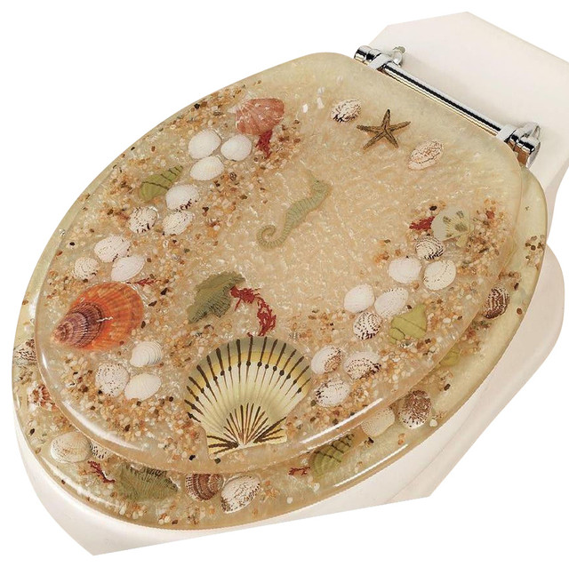 Jewel Shell Seashell And Seahorse Resin Toilet Seat