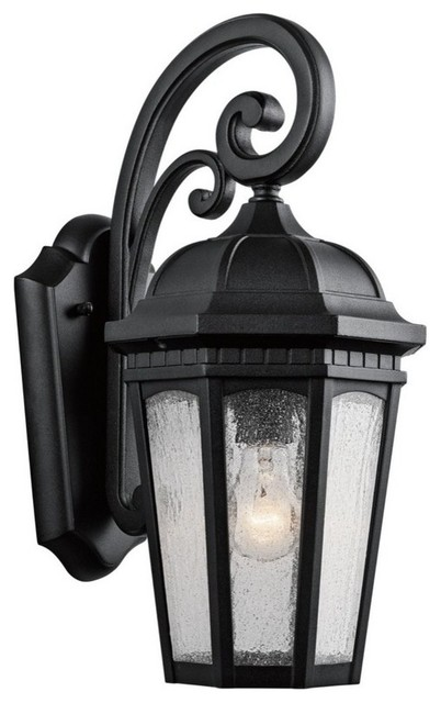 Courtyard 1-Light Outdoor Medium Wall Mount, Textured Black, Etched Seedy Glass