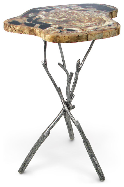 Palecek Petrified Wood Inlaid Side Table With Twig Legs Contemporary Side  Tables And
