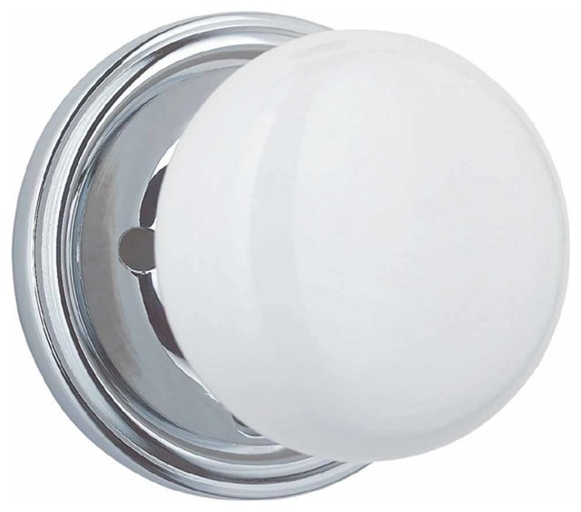 Marvelous White Porcelain/Chrome 2 3/8 Inch Door Knob Privacy Set Transitional  Doorknobs
