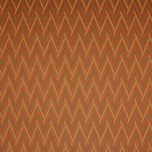 Mandarin Orange Geometric Herringbone Woven Upholstery