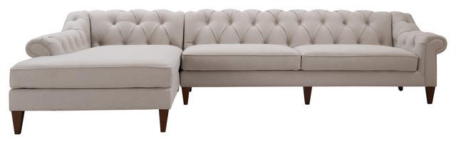 Alexandra Tufted Left Sectional Sofa, Bone White.