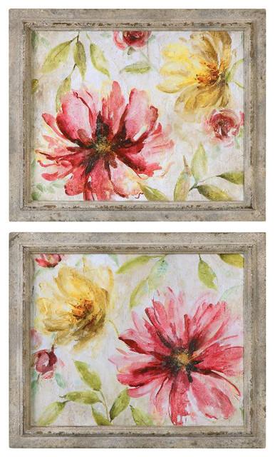 Uttermost Morning Petals Floral Art Set Of 2
