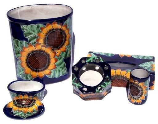 Sunflower Talavera Ceramic Bathroom Set Farmhouse Bathroom Accessory Sets By Fine Crafts Imports