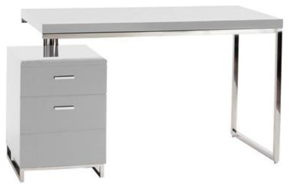 White Lacquer Chromed 47 Executive Office Desk With Drawers Contemporary Desks And Hutches By Officedesk