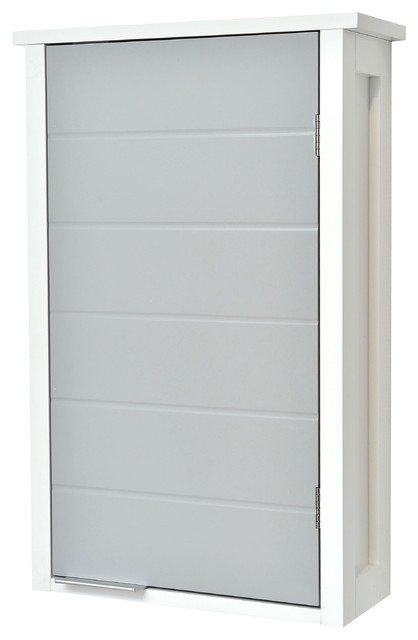Wall Mounted Bathroom Cabinet 1 Door Modern D White And Gray
