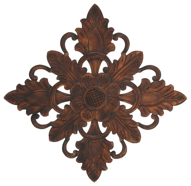 Hand Carved Wood Wall Art Piece Floral Leaf Brown Home Accent Decor Fascinating Home Accents Decor Outlet