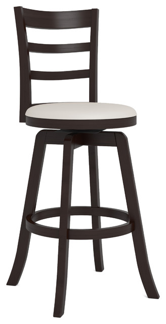 Pleasant Woodgrove Three Bar Design 43 Wood Barstool Espresso And White Leatherette Gmtry Best Dining Table And Chair Ideas Images Gmtryco