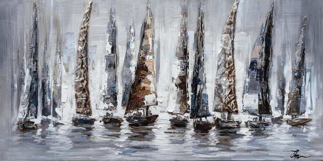 """gray Sail Boats"" Hand Painted Canvas Art, 55""x27.5""."