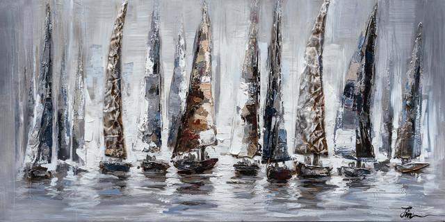 """Gray Sail Boats"" Hand Painted Canvas Art, 55""x27.5"""
