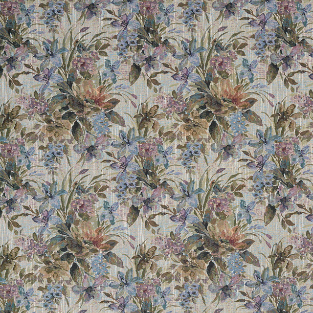 Blue, Purple And Green, Floral Tapestry Upholstery Fabric By The Yard