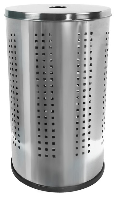 """4"""" Polished Stainless Steel Laundry Bin With Ventilated Body."""