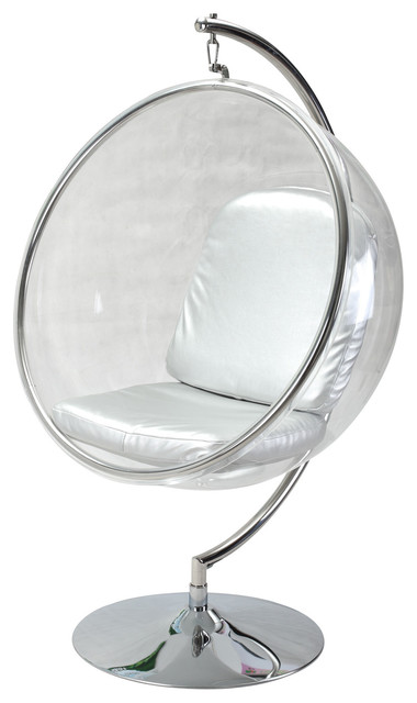 Bubble Chair With Stand, Industrial Silver Cushion by Kardiel