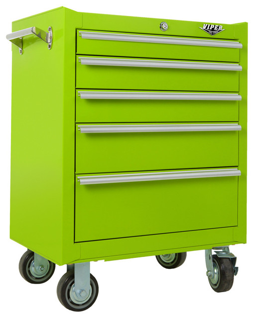 "26"" 5-Drawer 18G Steel Rolling Cabinet, Lime Green - Industrial - Garage And Tool Storage - by ..."
