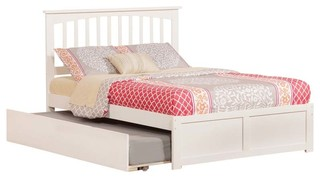 Mission Flat Panel Footboard With Urban Trundle, White, Full