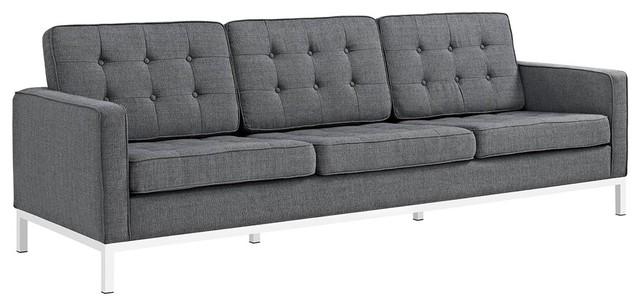 Loft Upholstered Fabric Sofa, Gray.