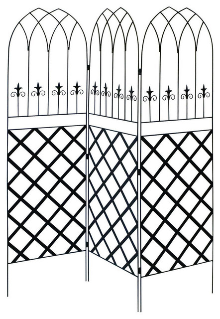 6&x27; High 3-Panel Black Metal Lattice Screen Garden Trellis