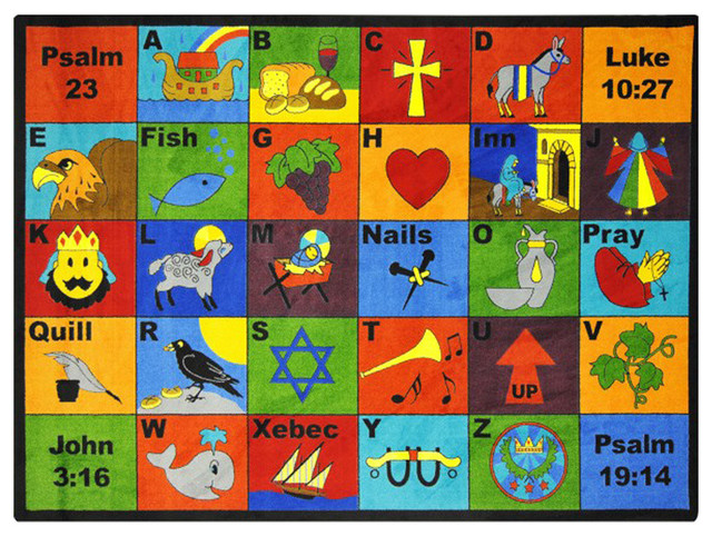 Joy Carpets Kid Essentials Inspirational Area Rug Bible Phonics Rug, 3&x27;10x5&x27;4.
