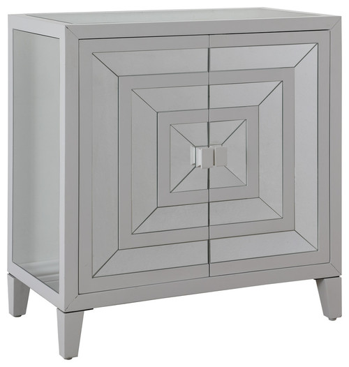 White/Clear Mirrored 2 Door Cabinet