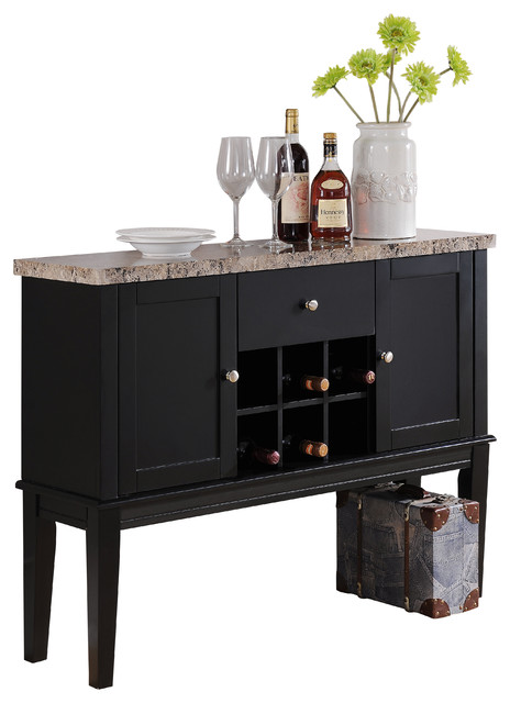 Exceptional Wood Breakfront Cabinet Buffet Wine Storage Table, Marble Top, Black Finish  Transitional Wine