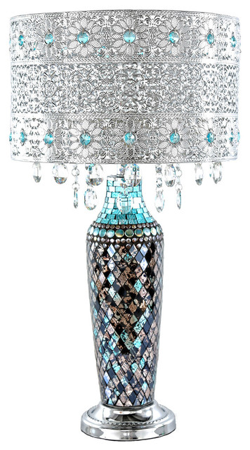 "24.25"" Gloria&x27;s Crystal Beaded Table Lamp With Mosaic Base, Turquoise."