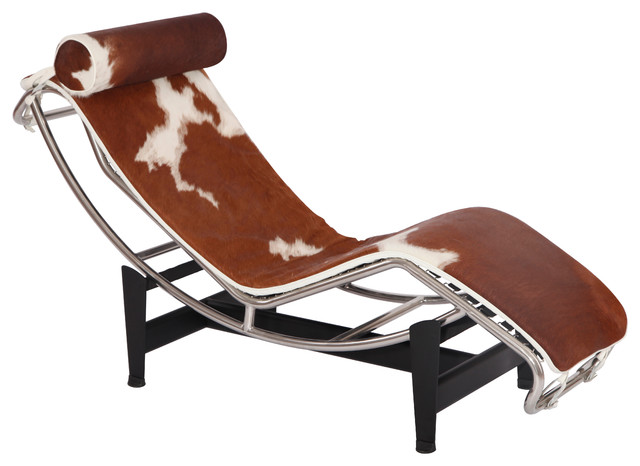 LC4 Chaise Lounge Chair, Brown/White, Pony Leather Contemporary Indoor  Chaise