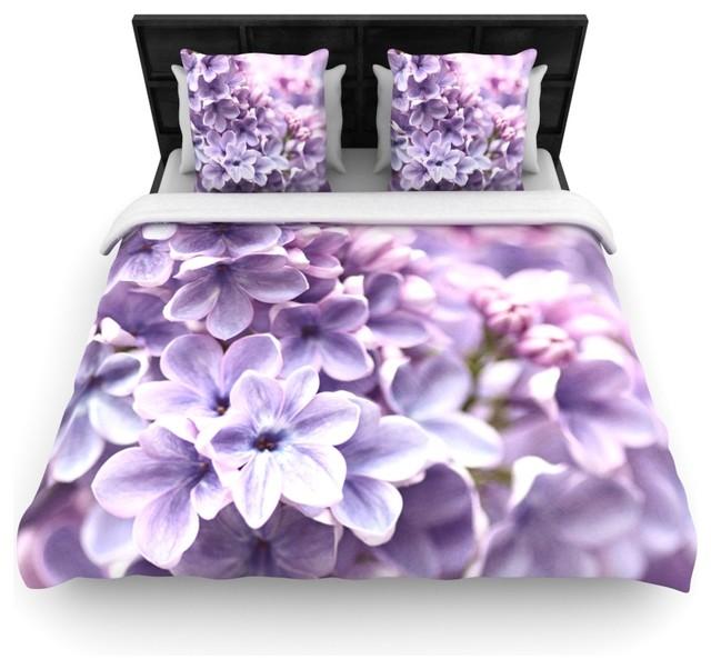 Sylvia Cook Lilac Purple Flowers Duvet Cover 88 X88 Cotton