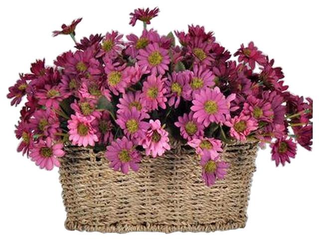 Artificial Flowers Hanging Basket Fl Fake Gerbera Purple Farmhouse Flower Arrangements By Blancho Bedding