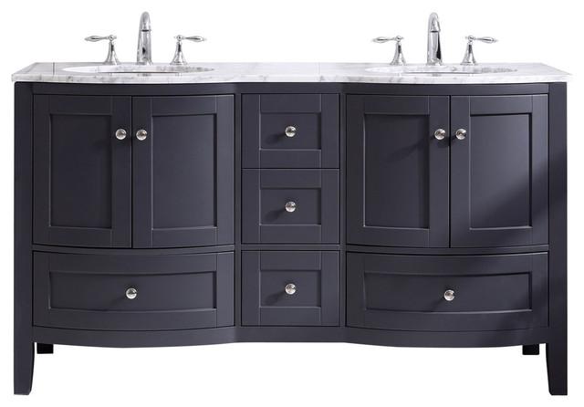 Eviva Stanton 60 Freestanding Double Sinks Bathroom Vanity Dark