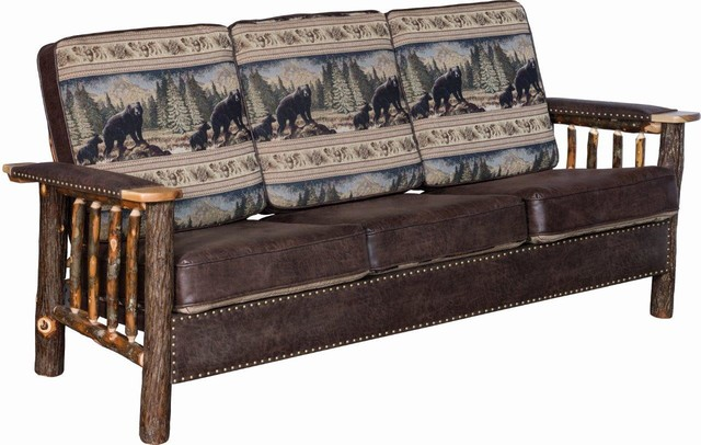 Rustic Hickory Log Sofa With Leather